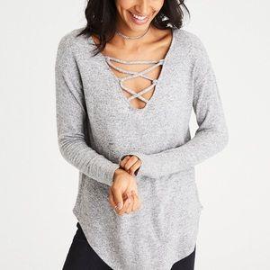 AMERICAN EAGLE | Gray Soft Sexy Plush Sweater M